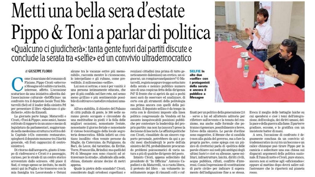 Giuseppe Florio articolo Gazzetta del Mezzogiorno