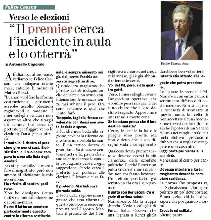 intervista a Felice Casson